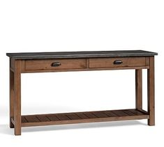 Channing Wood & Galvanized Metal Console Table with Shelf, Russett finish, Premium In-Home Delivery