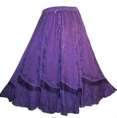 Dance Gypsy Medieval Renaissance Vintage Embroidered Costume Skirt Purple