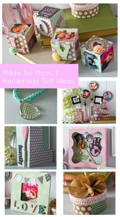 Handmade Mother's Day Gift Ideas designed by Cathie & Steve using photos, handprints and more #diy #crafts #handmade #mothersday #modpodge #folkartpaint