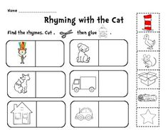 dr. seuss rhyming words worksheets | fun and quick Rhyming with Dr ...