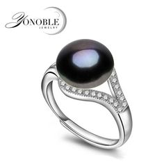 natural pearl rings wedding freshwater black rings adjustable ring 925 silver girl engagement birthday gift