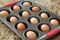 """Have you ever tried to hard boil eggs in the oven before? Holy canolies, it totally works. I was baking some cookies yesterday and after I was finished, I thought I would give it a try. Here's how to """"hard boil"""" eggs in the oven. Preheat oven to Oven Boiled Eggs, Baked Hard Boiled Eggs, Baked Eggs, Boiled Egg Nutrition, Nutrition Diet Plan, Fitness Nutrition, Gourmet Breakfast, Tips & Tricks, Baking Tips"""