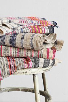Vintage Pink Stripe Hemp Fabric - Urban Outfitters