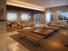 Salão de festas amplo e confortável