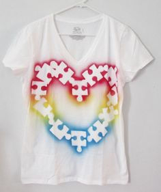Autism Awareness Tee shirt - Puzzle piece, multi color size small