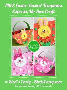 NO-Sew, cestas expresso para seu Easter Egg Hunt sagacidade GRÁTIS Padrão Printable