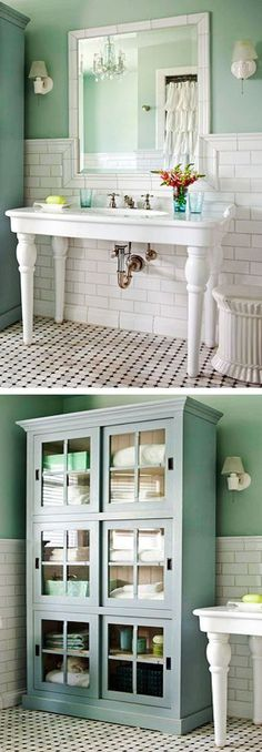 Use a Kitchen Hutch as Storage for the Bathroom & Use a Table for the Sink #neat  Idea for upstairs bathroom