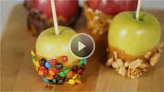 Caramel apples! Whether you call them caramel apples or candy apples, we've got tips for how to make caramel apples at home, plus four tasty dipping ideas!/