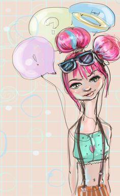 pink,girl,style,illustration,kubra aslan,hipster,hairstyle,sketch, http://kubizm.tumblr.com/image/87513263563