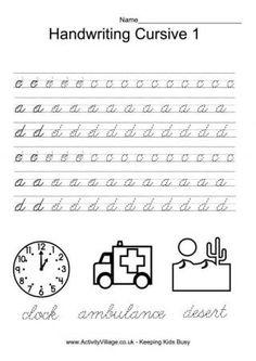 Handwriting Practice Cursive 1-8, very nice