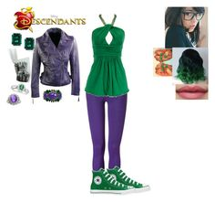 """""""Becca Banner-Daughter of Bruce Banner (The Hulk)"""" by maxinehearts ❤ liked on Polyvore featuring Faith Connexion, Converse, Allurez, Philippe Ferrandis, superheros, OC and Descendants"""