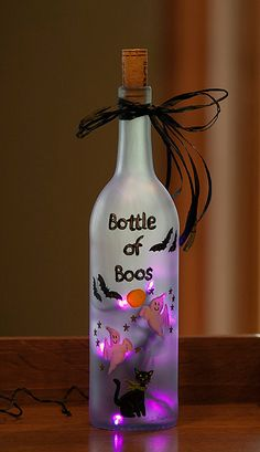 Halloween Bats Lighted Wine Bottle Hand Painted Bottle of Boos Purple LED Light Spooky Ghost Black Cat Night Light Frosted Glass Accent Lamp via Etsy
