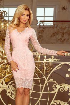 : Lace dress with neckline pastel pink Elegant Midi Dresses, Lace Midi Dress, The Dress, Pink Dress, Modern Outfits, Pastel Pink, Pink Lace, Women's Fashion Dresses, Evening Dresses