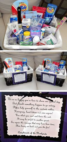 For the bathrooms at the wedding! Never even thought of this! Great idea.