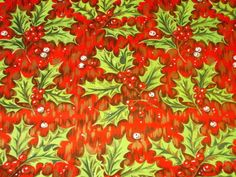 VTG-CHRISTMAS-WRAPPING-PAPER-GIFT-WRAP-MCM-GORGEOUS-RED-GOLD-GREEN-HOLLY