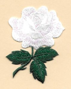Rose   Flower   Garden   White Rose   Love   Embroidered Iron On Applique  Patch