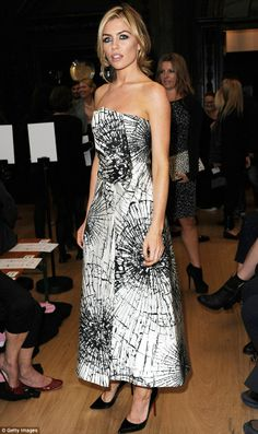 Abbey Clancy.. wears a strapless black and white shattered glass-print ballgown, with Pigalle Christian Louboutin pumps.. Giles Deacon Spring Summer 2014 show.. LFW..