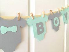"Lovely Child One-Piece Bodysuit ""IT'S A BOY"" Child Bathe Banner: Mild Teal/Aqua/Mint and Grey Child Bathe Ornament"