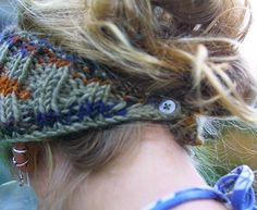Knit head band - I like the button in the back, so you don't have to pull it up and mess up your hair. :P
