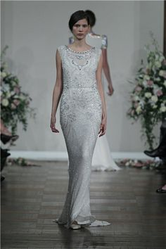 Jenny Packham beaded column wedding dress #wedding