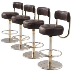Set of Four Bar Stools in Brass Colored Metal and Brown Leather Upholstery | 1stdibs.com