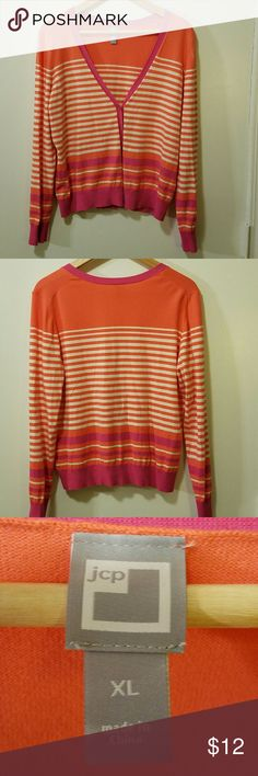 """EUC....JCP Striped Cardigen Size XL, EUC..Color coral, white, pink. Buttons up front. Armpit to armpit 21"""" Length top to bottom 23"""" Sleeves 18"""" jcpenney Sweaters Cardigans"""