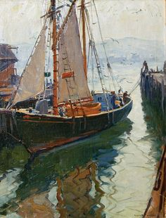 """Gloucester Harbor Scene"" by Emile Gruppe. This American made Gloucester, Massachusetts is home."