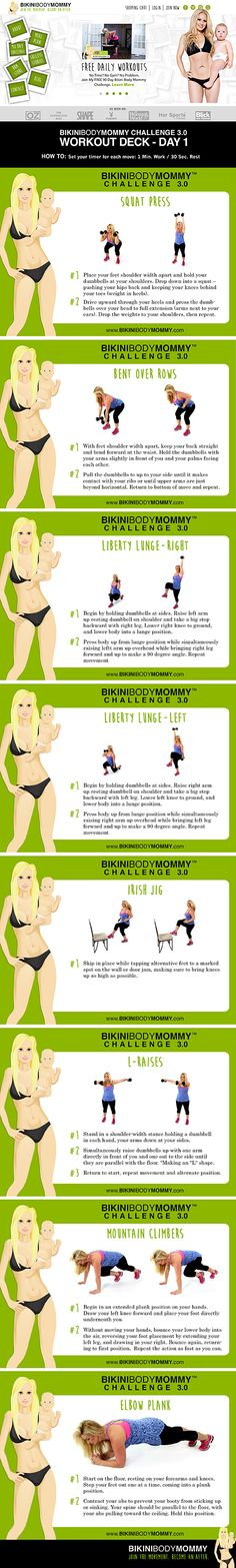 FREE 90 DAY WORKOUT CHALLENGE specifically built for Busy Moms ... if you need to lose weight these BikiniBodyMommy.com workouts are the way to go! #Fitness #Exercise #Workouts