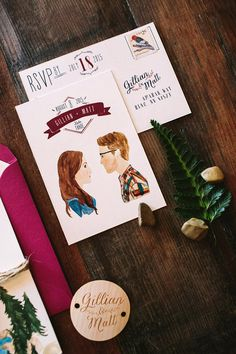 Rustic Woodland Watercolor Wedding Invitations by Wide Eyes Paper Co. / Oh So Beautiful Paper
