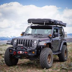 Image may contain: sky, cloud and outdoor Jeep Jl, Jeep Cars, Jeep Truck, Jeep Rubicon Unlimited, 2 Door Jeep, Black Jeep, Custom Jeep, Wrangler Jl, Roof Top Tent
