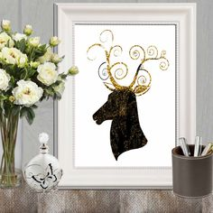 Black and gold decor Black and gold baroque print by DorindaArt