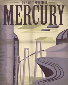 Retro Sci-Fi Mercury Travel Poster - 8x10 Print