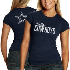 Dallas Cowboys Women's Navy Marquee T-Shirt by NFL. $21.95. Rib knit collar. Machine washable. Women's Game Day T-Shirt. Screen print graphics. 100% Cotton. Stock up on your Cowboys team gear with this Dallas Cowboys Women's Navy Marquee T-shirt. Made by Dallas Cowboys, this Dallas Cowboys t-shirt features screen print graphics and is made from 100% cotton. This piece of Cowboys apparel gear will make a welcome addition to your wardrobe.