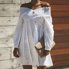 2902280be21c Sexy Off Shoulder Long Sleeve Plain Casual Dress. Mini Dress With Sleeves White ...