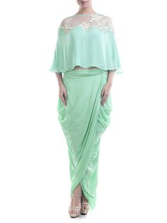 Aqua Blue Chiffon Cape With Crepe Wrap Dhoti Skirt #dress #couture #stylish…