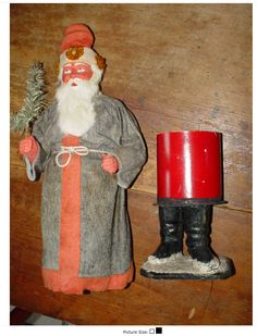 Belsnickle in grey wool coat with red wool felt hat and trim. Old Christmas, Antique Christmas, Father Christmas, Christmas Items, Christmas Candy, Christmas Wishes, Christmas Holidays, Vintage Candy, Vintage Santas
