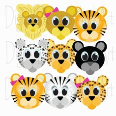 Cute wild cats faces - clipart https://www.etsy.com/listing/205155878/wild-cat-clipart-lion-clipart-tiger?