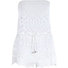 River Island White embroidered sleeveless playsuit ($19) ❤ liked on Polyvore featuring jumpsuits, rompers, dresses, playsuits, romper, tops, jumpsuit, sale, strapless romper and playsuit jumpsuit