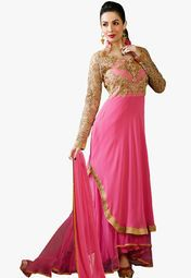 Admyrin Pink Embroidered Dress Material Online Shopping Store