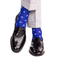 Clematis Blue with Sky Blue Skull and Crossbone Sock Linked Toe OTC - over-the-calf - dapper-classics