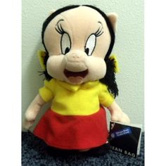 Retired Warner Brothers Porky Pig Girlfriend Petunia Pig 8 Inch Plush Bean Bag Doll -- For more information, visit image link. (This is an affiliate link) #Puppets