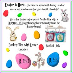 Don't Miss Out on this great 🐰Easter Offer🐰! Spoil the Kids with a Personalized Easter-Hunt bucket directly from the Easter Bunny. Cut-off for orders is 13 April - so get your order in ASAP! Delivery costs not included Easter Buckets, Easter Hunt, Facebook Sign Up, You Got This, Bunny, Delivery, Gift Ideas, How To Make, Kids