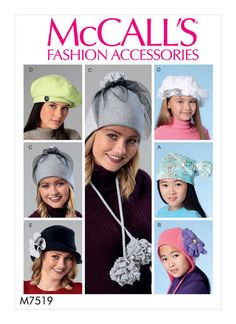 a9dba156f76 M7519 McCall s hats sewing pattern Hat Patterns To Sew