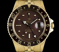 Rolex GMT-Master Vintage Gents 18k Yellow Gold Brown Nipple Dial 1675
