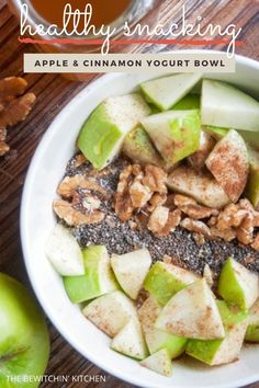 Start your new year off with healthy snacking! Grab a bowl and follow my few simple steps in creating a nutritous snack (or dessert!) that will leave you feeling satisified. #healthyeating #newyeargoals #apples #yogurt #healthysnacks #nutritous Best Dessert Recipes, Apple Recipes, Appetizer Recipes, Snack Recipes, Dessert Dips, Appetizers, Desserts, Savory Snacks, Yummy Snacks
