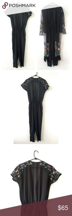 Zara 2 Piece Jumpsuit / Kimono Zara Trafaluc 2 Piece Jumpsuit / Kimono Size XS  Black, sheer, short sleeved jumpsuit with embroidered flowers, v front, pockets!  Sheer kimono (not sure what to call it) with embroidered flowers and velvet fringe. This is a very pretty outfit!  Only flaw: there is a snap in front on the jumpsuit to hold it a little more closed. One side is missing, I can have one put in though if you'd like. Zara Pants Jumpsuits & Rompers