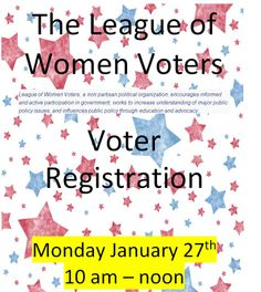On Monday, January 27th from 10:00 AM to noon, the League of Women Voters will be holding a voter registration drive at the St. Pete Beach Library. We hope to see you there!