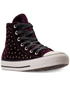 87bb25644a4f CONVERSE WOMEN S CHUCK TAYLOR HI VELVET STUD CASUAL SNEAKERS FROM FINISH  LINE.  converse  shoes
