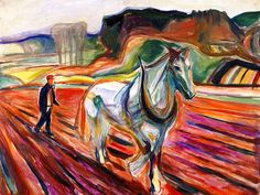Man Plowing with a White Horse Edvard Munch - 1919-1920