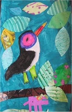 Toucan Art lesson...wall paper or old paintings leaves!